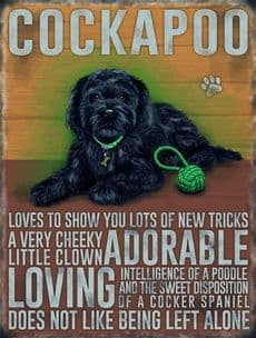 Vintage Style Dog Metal Wall Kitchen Retro Sign Black Cockapoo Animal