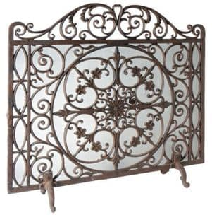 Vintage Style Ornate Heavy Cast Iron Metal Fireguard Firescreen 70 x 80 cm