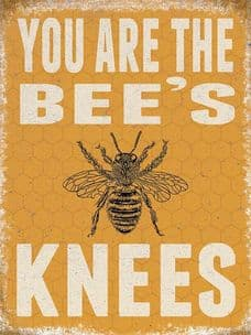VINTAGE STYLE RETRO METAL WALL SIGN TIN PLAQUE BEE'S KNEES GIFT