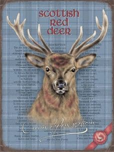 VINTAGE STYLE RETRO METAL WALL SIGN TIN PLAQUE STAG SCOTTISH DEER UK HOME DECOR